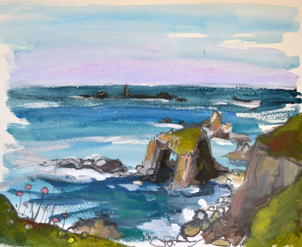 Enys Dodnan - a distinctive rock formation between Lands End and Nanjozal. Longships Lighthouse in the distance