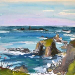 Enys Dodnan - a distinctive rock formation between Lands End and Nanjozal. Longships Lighthouse in the distance