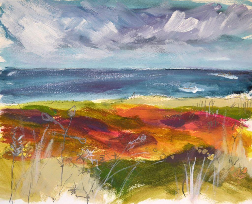 Gorse and heather on the cliff tops. The colours are bright and surprising