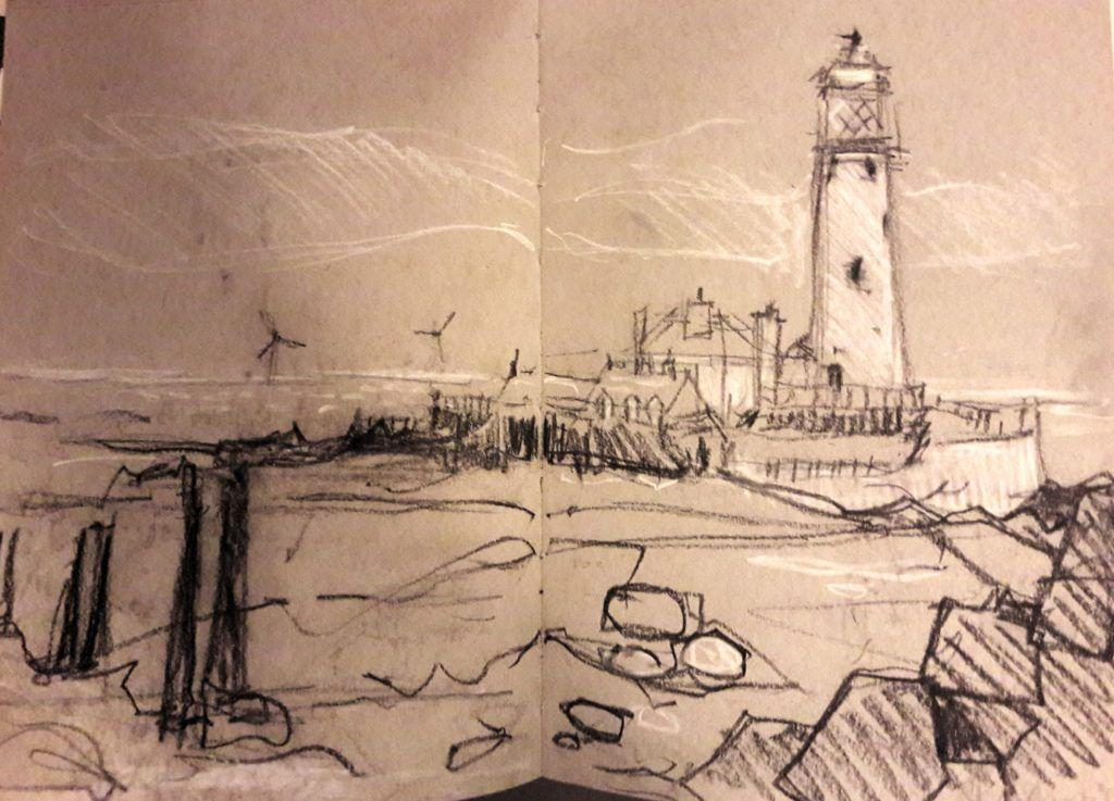 St Mary's Lighthouse, near Whitley Bay, Northumberland. Black charcoal pencil and chalk