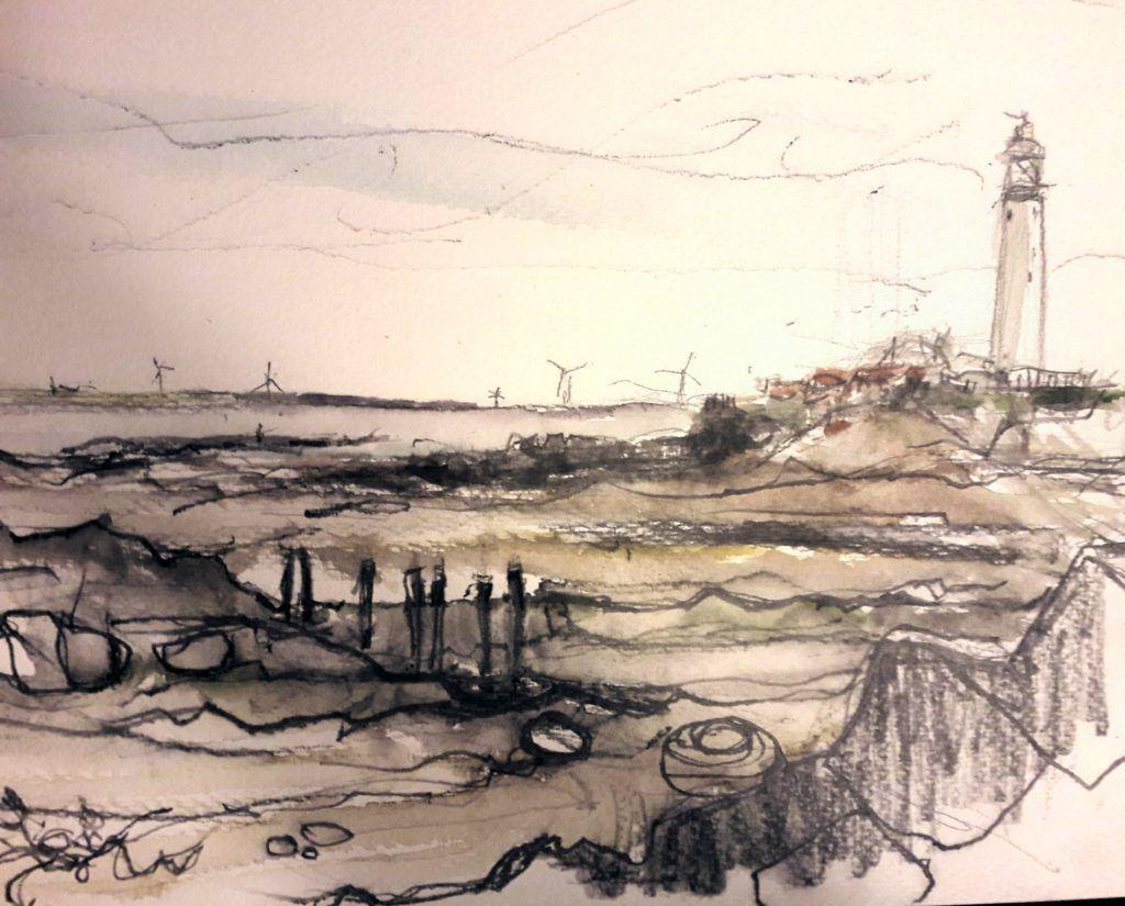 St Mary's Lighthouse, near Whitley Bay, Northumberland. Graphite and watercolour