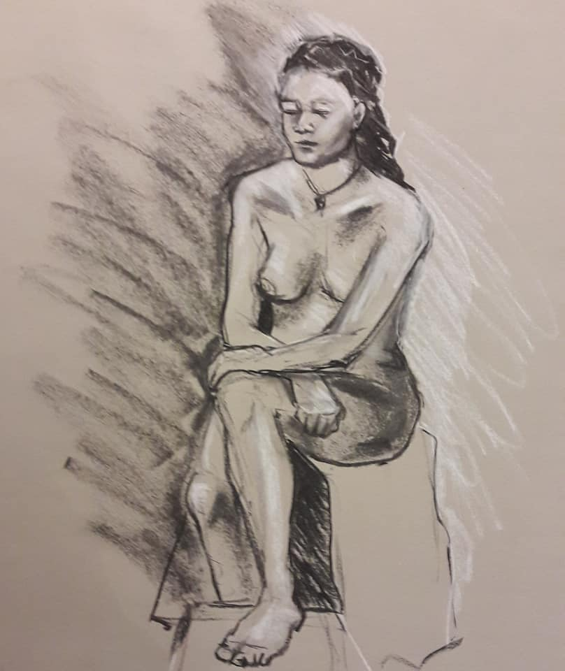 Steph. 20-minute study in charcoal and chalk