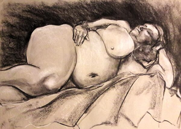 Becky. 40-minute study in charcoal and chalk