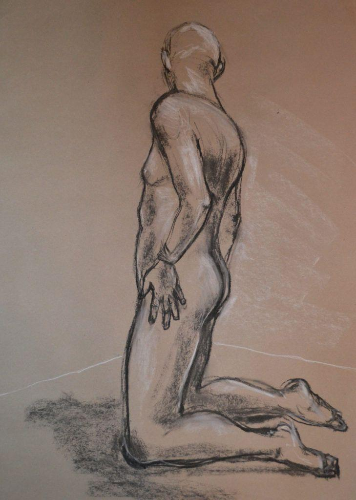 Dave turning. 20-minute study in charcoal and chalk