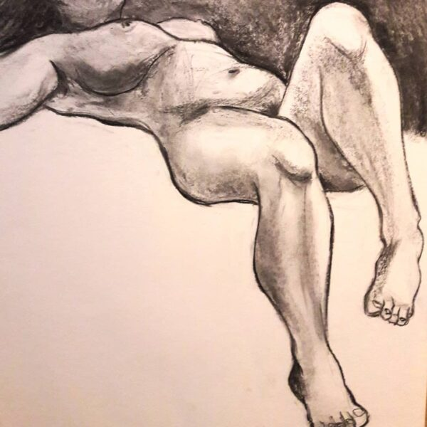 Life study in graphite, concentrating on line and shape