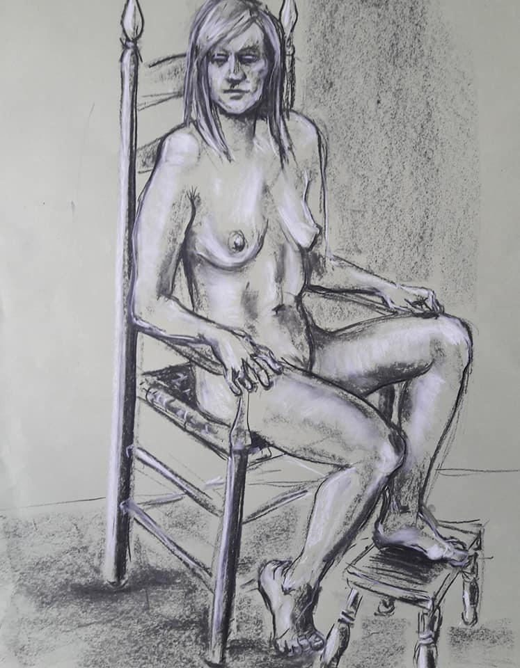 40-minute charcoal study