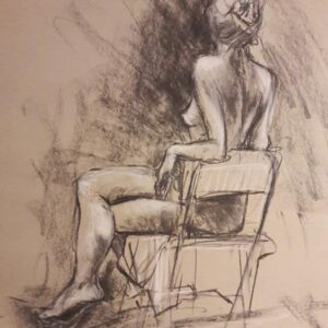 Sam seated. 20-minute study in charcoal and chalk