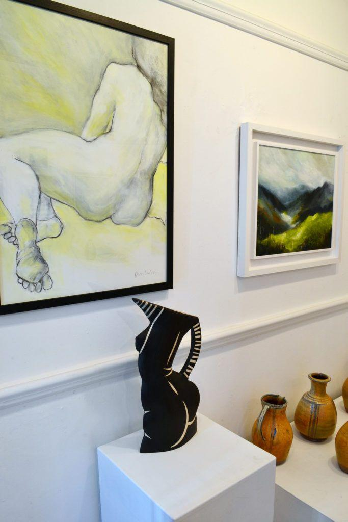 'Sam' and 'Pasture' with ceramic vessels by Jude and John Jelfs