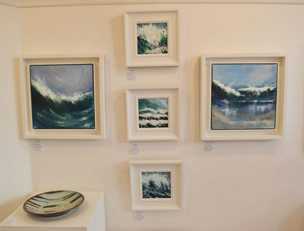 'Sennen Wave', 'Spindrift I, II and III' and 'Sennen Reflections' with ceramic by John Jelfs