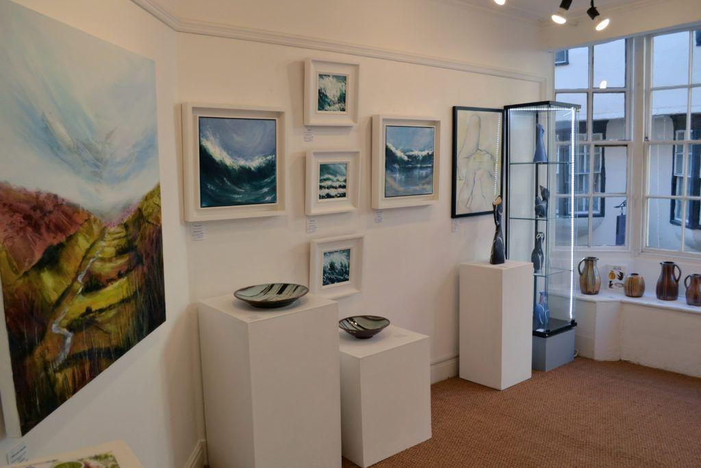 Paintings in the front gallery, with ceramic works by John and Jude Jelfs