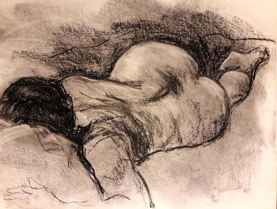 Catherine. Black pastel study