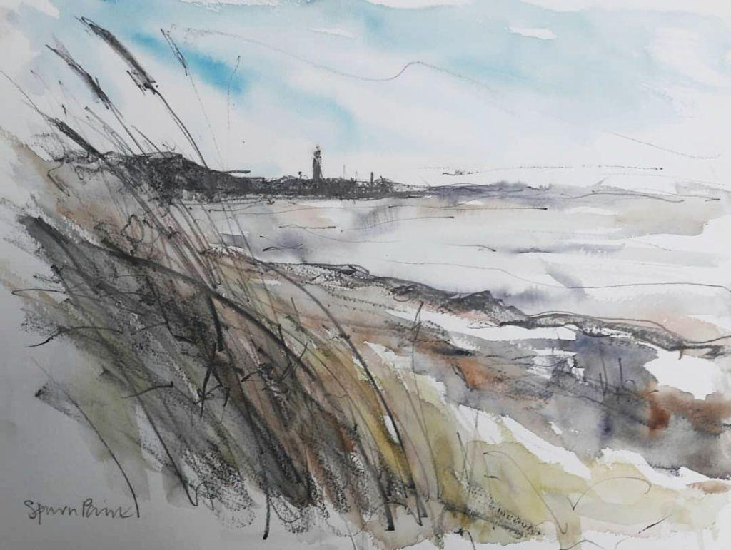 Spurn Point. Watercolour and graphite