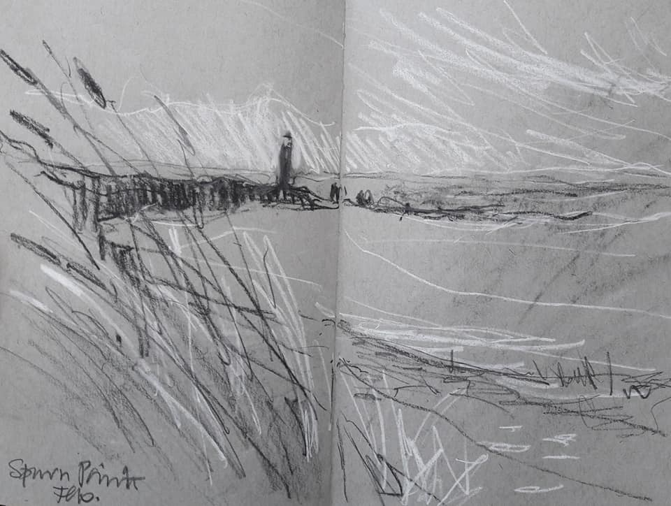 Spurn Point. Charcoal and chalk