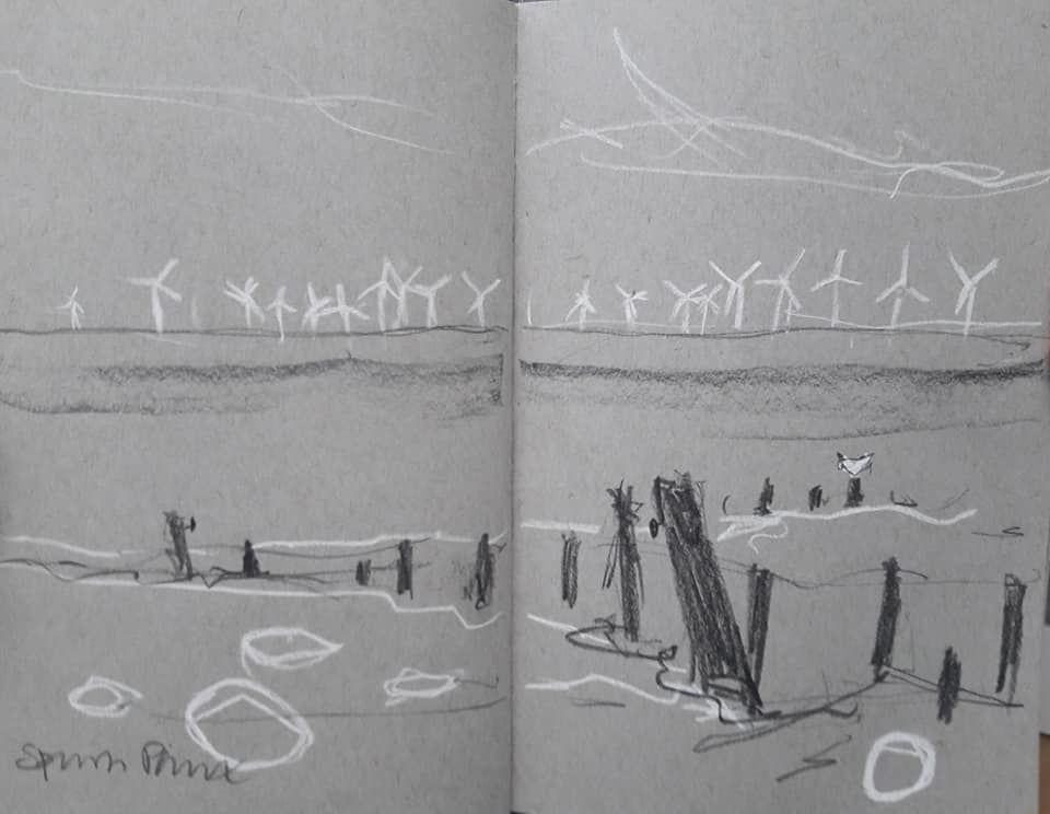 Spurn Point wind turbines. Charcoal and chalk