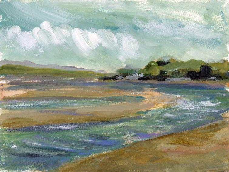 En plein air work on paper. Bay near Borth y Gest, North Wales