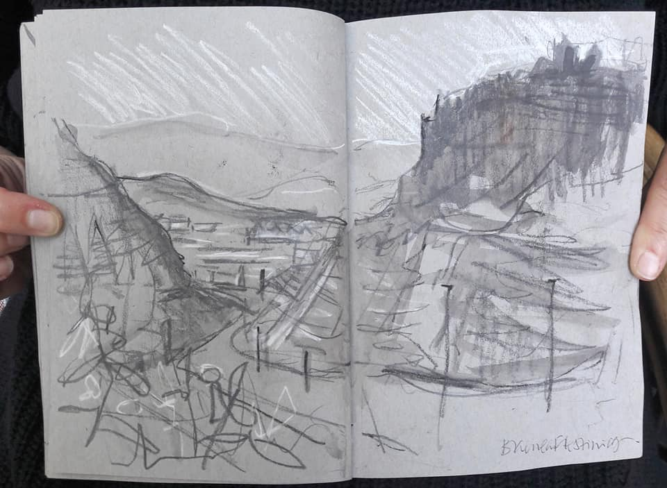 Lightning sketch of slate quarries in Blaenau Ffestiniog, North Wales