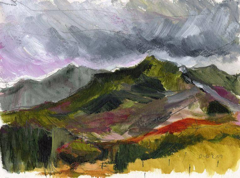 En plein air work on paper. Bright hills and contrast, North Wales