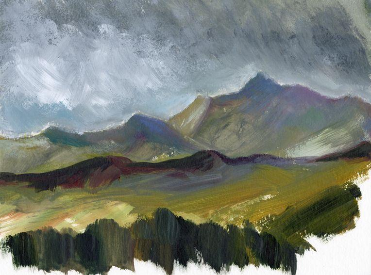 En plein air work on paper. Distant Snowdon, North Wales