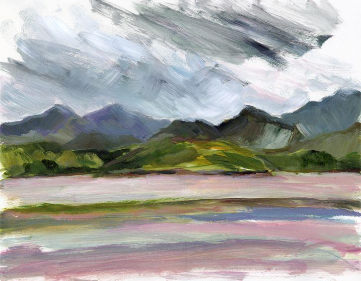 En plein air work on paper. Looking towards Ynys Gifftan from Ynys, North Wales