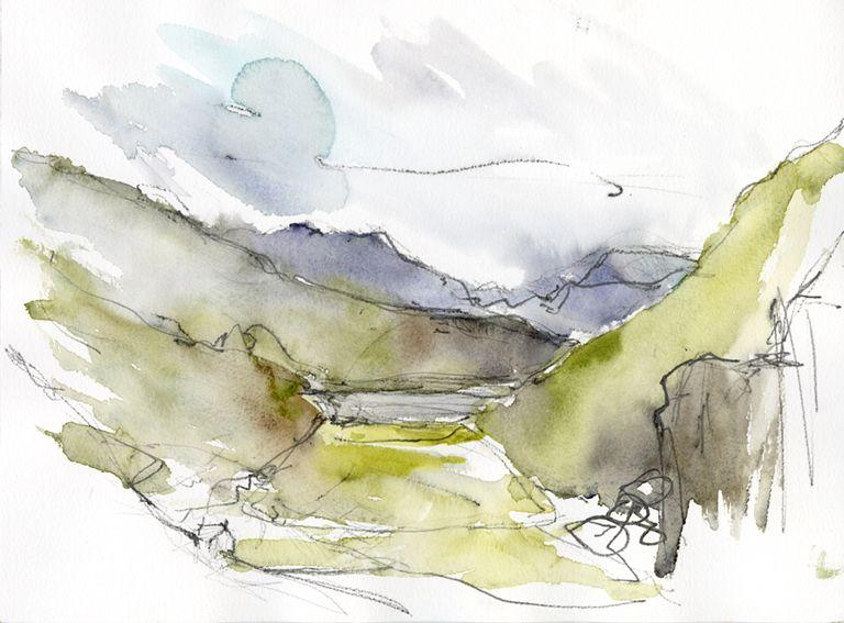 Quick sketch of the Glaslyn valley, North Wales