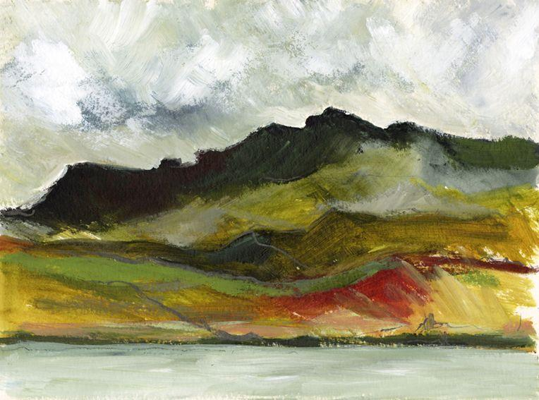En plein air work on paper. The lake and dark hills, North Wales
