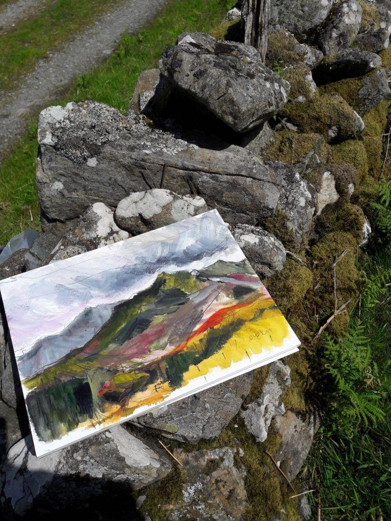 En plein air works on paper. Bright contrasts, North Wales