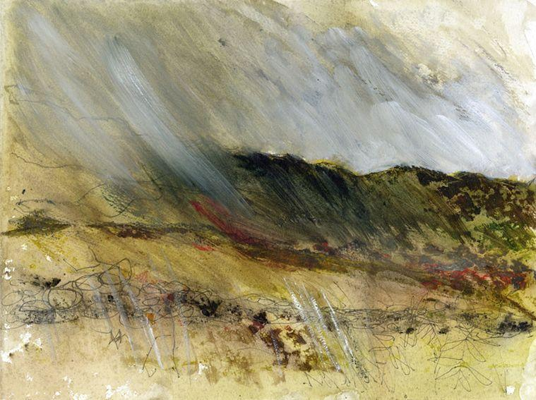 En plein air work on paper. Rain, North Wales