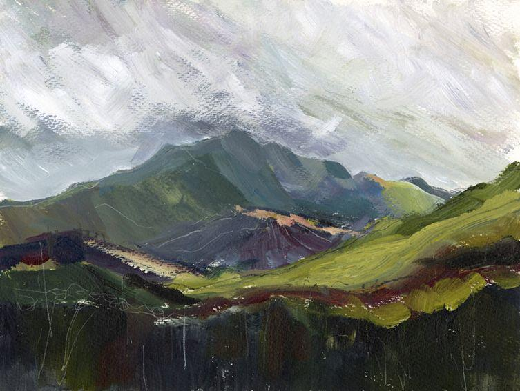 En plein air work on paper. Looking towards the Snowdon range, North Wales