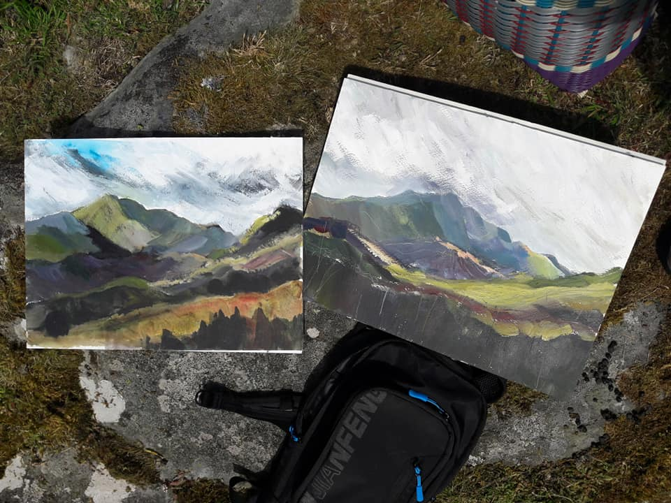 En plain air works on paper. Looking towards Snowdon, North Wales