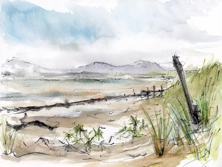 En plein air works on paper. Traeth Harlech, North Wales