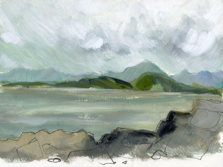 En plein air works on paper. Traeth Llandwg, North Wales