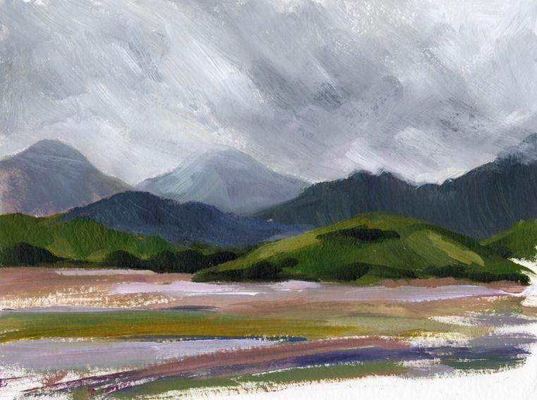 En plein air works on paper. Looking towards Ynys Gifftan from Ynys, North Wales