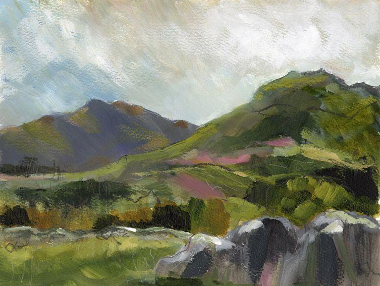 En plein air works on paper. Pink soil and distant hills, North Wales