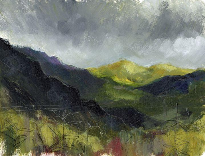 En plein air work on paper. Gold hills, North Wales