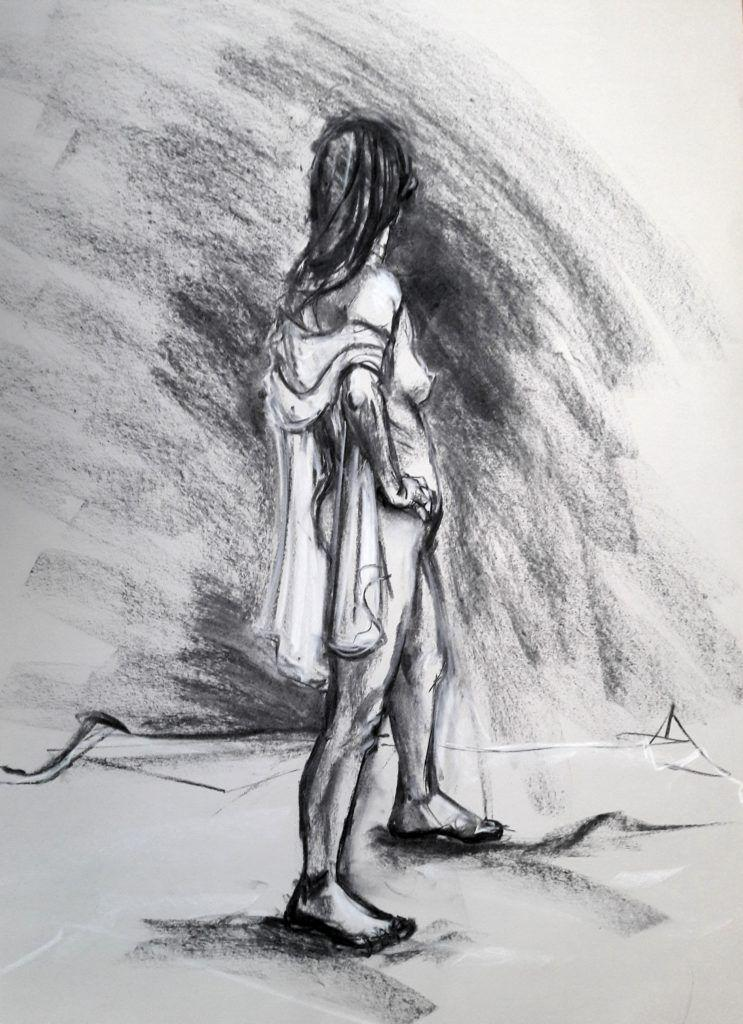 Full standing pose with scarf. Charcoal and chalk on sugar paper. 20-minute study