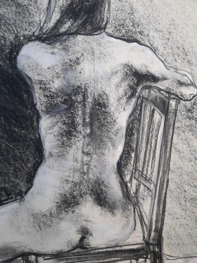 Detail of back. 40-minute study in charcoal and chalk on sugar paper