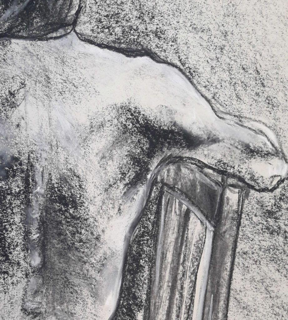 Detail of shoulder. Charcoal and chalk on sugar paper. 40-minute study