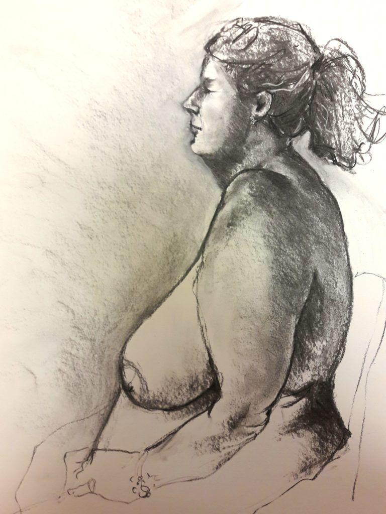 Becky. 30-minute study in charcoal and chalk