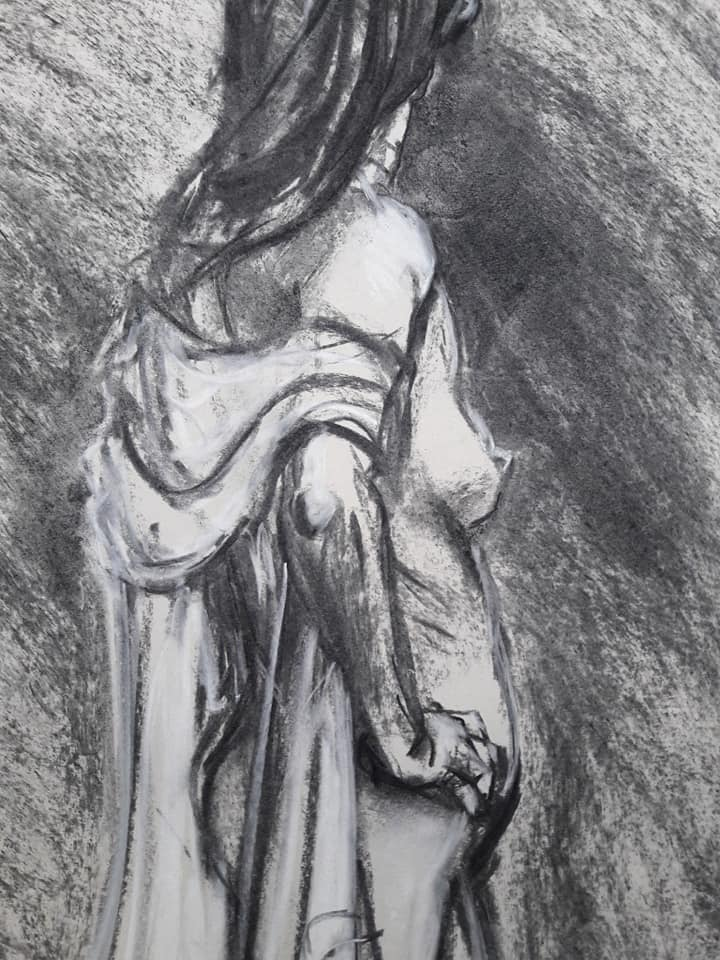 Detail of 20-munite study in charcoal and chalk on sugar paper