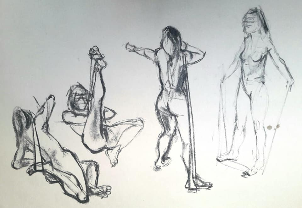 3-minute studies in charcoal
