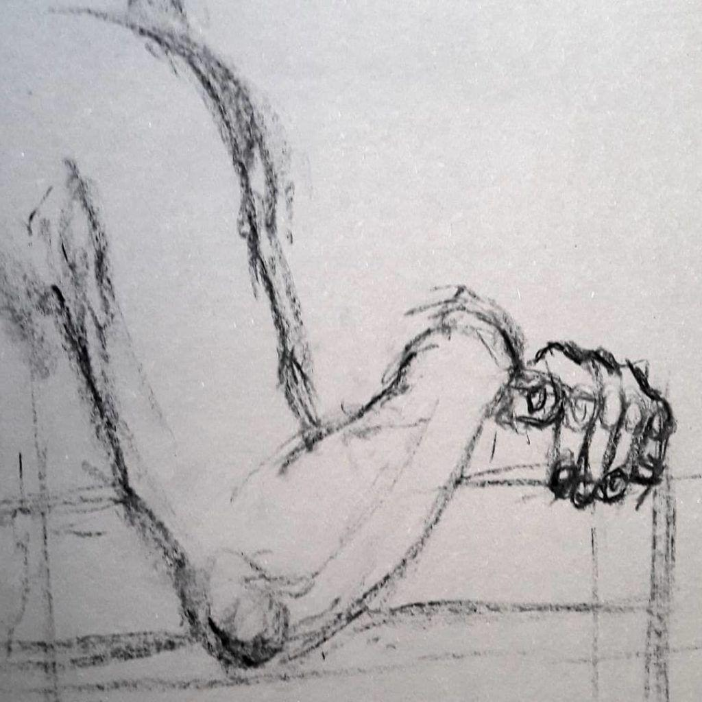 Study of hands. Charcoal on paper
