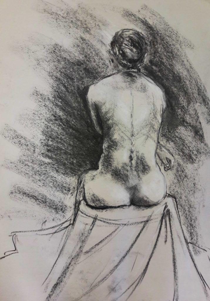 20-minute study in charcoal and chalk on sugar paper (A1)