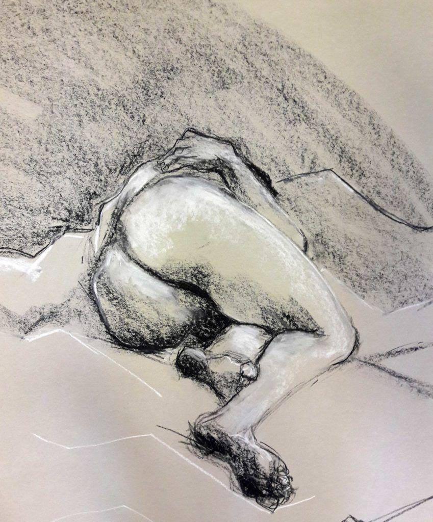 40-minute studio in charcoal and chalk on sugar paper