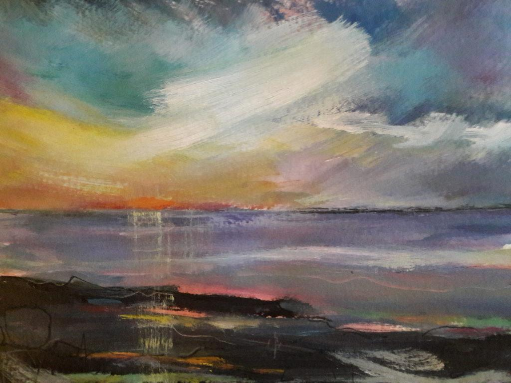 Up with the lark to paint the sunrise over Low Newton bay.