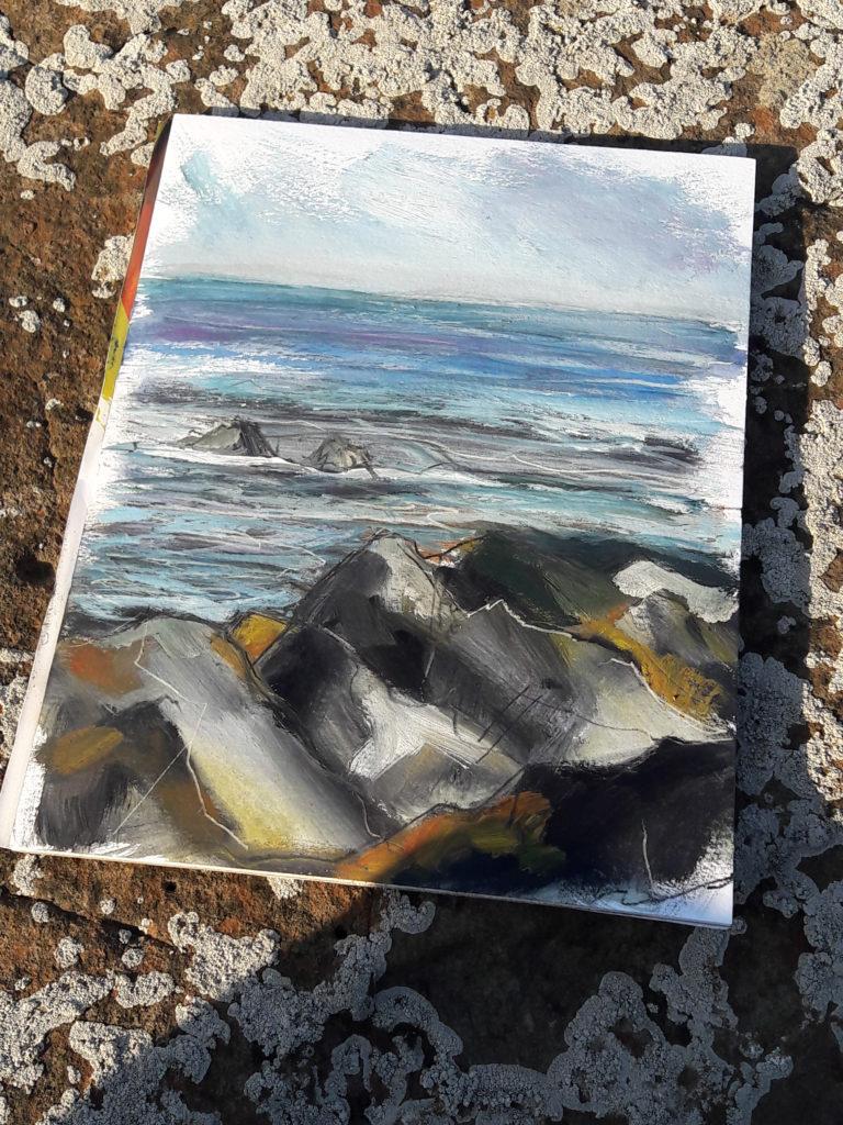 Reflective sea and hard rocks with orange lichen.