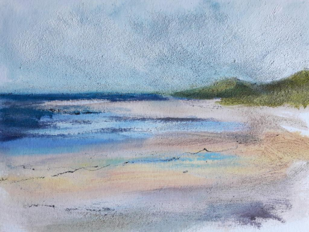 Working on the beach on a very windy evening created an unintentionally textural painting!