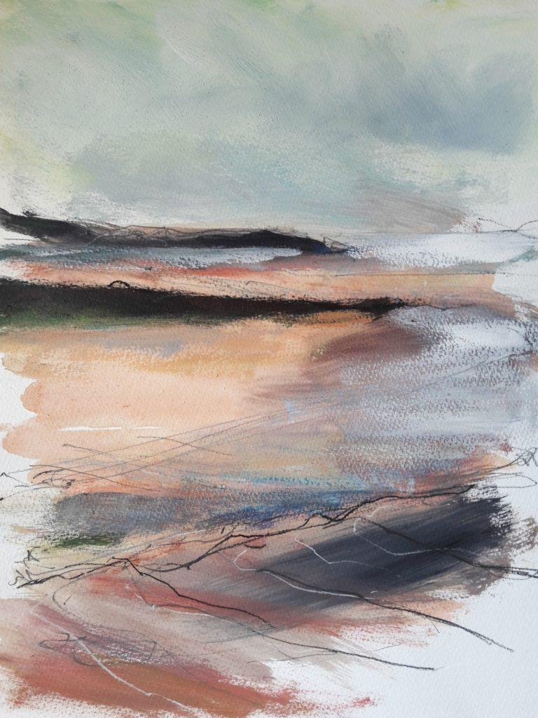 Colour study. Morning. A shift in tide and light conditions. Some directional lines added for reference back in the studio.