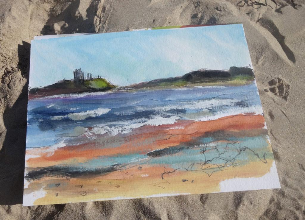 Dunstanburgh Castle colour study.