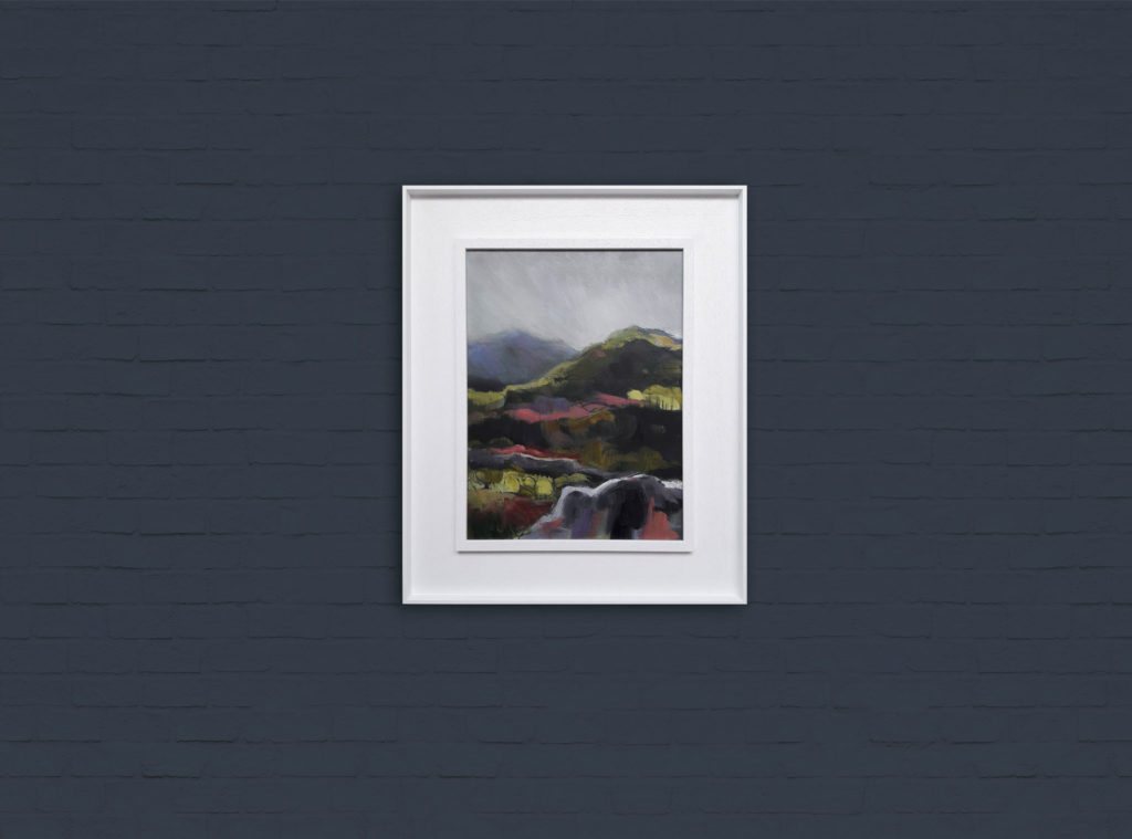 Pink Hills on Farrow and Ball Hague Blue