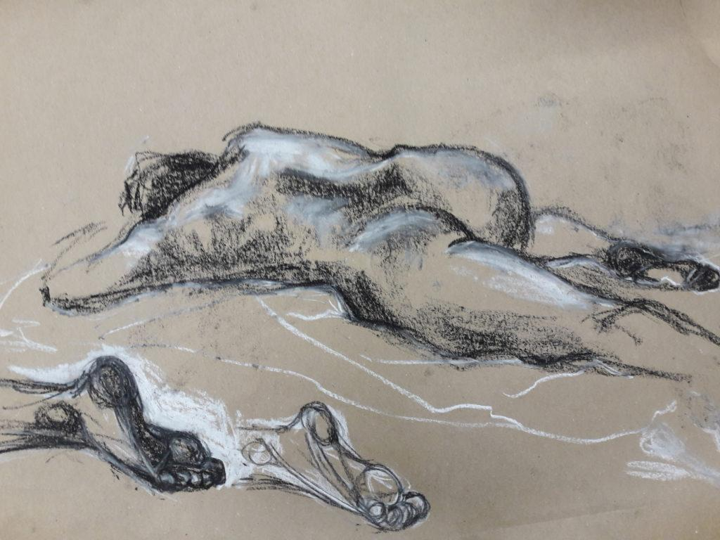 15-minute study in pastel and chalk on brown paper